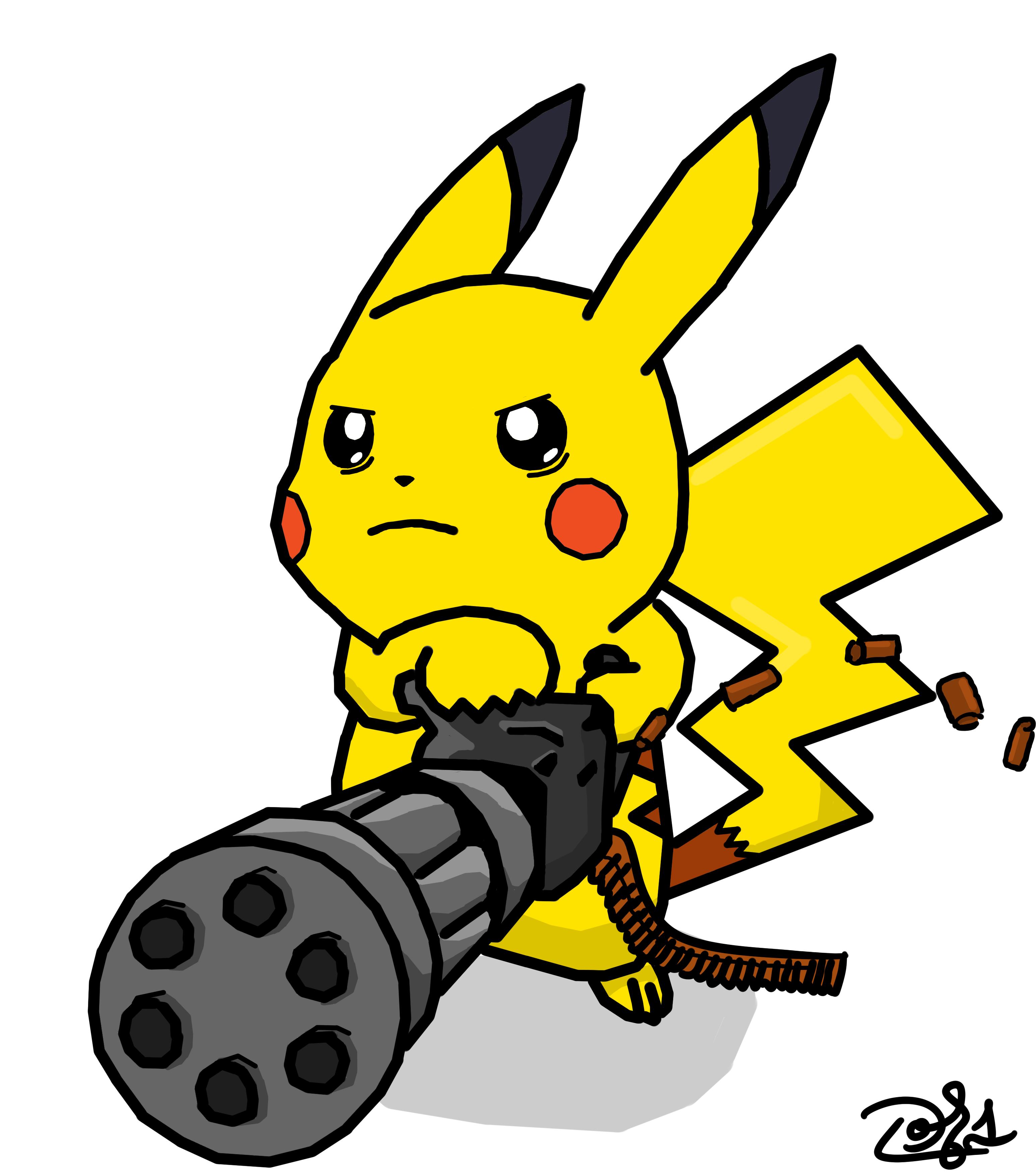 Pikachu with Minigun b...