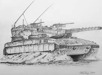 Merkava Mk II in Action by ronincloud