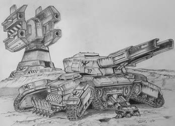 Star Craft II Siege Tank by ronincloud