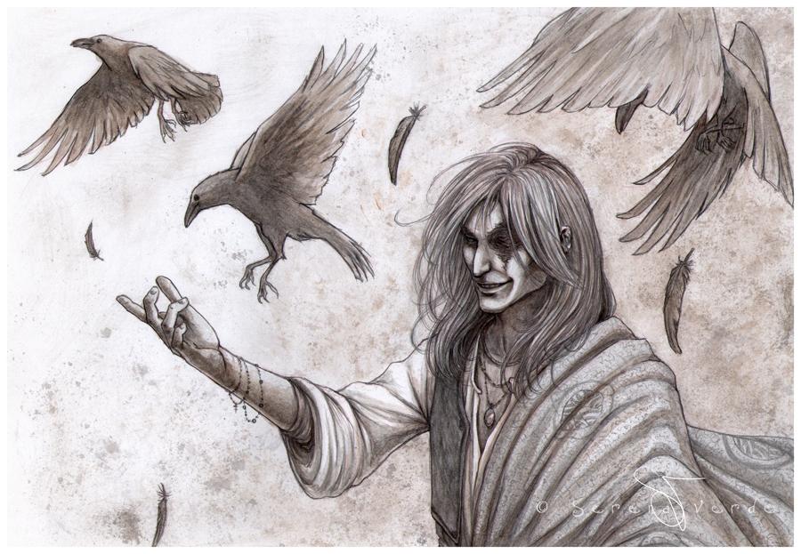 crows flight by serenaverdeart