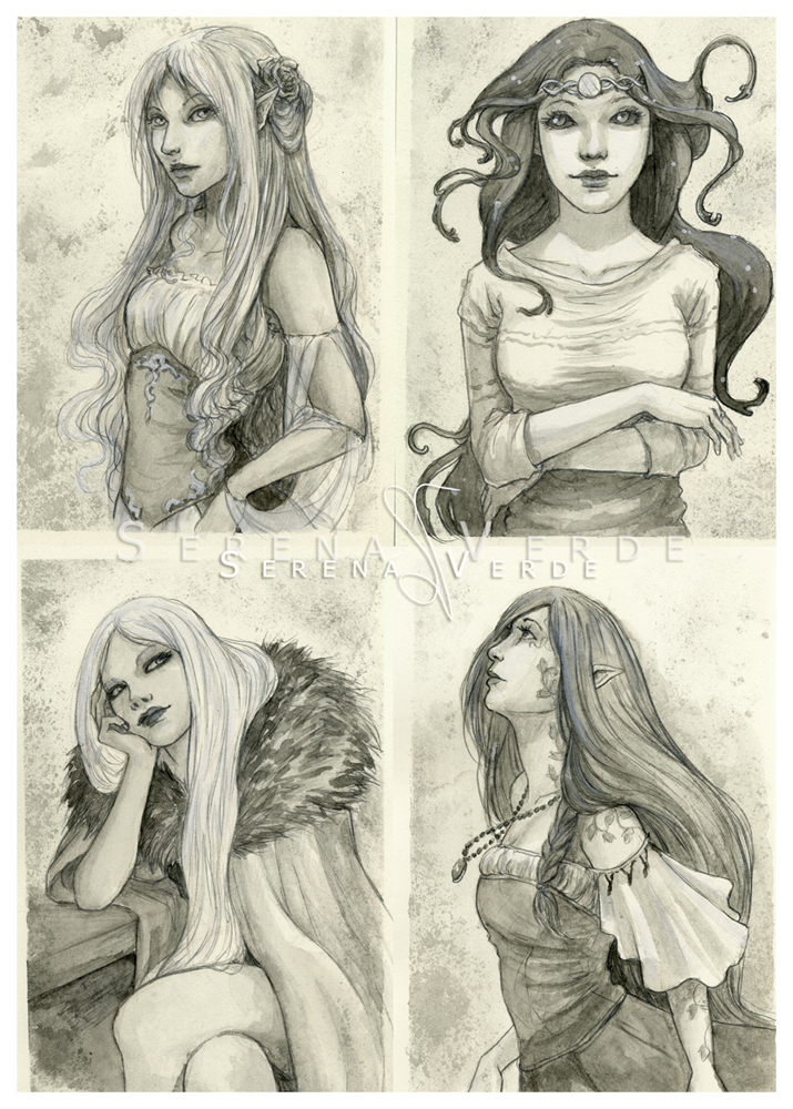 Watercolour sketch commissions: 1-4 by SerenaVerdeArt