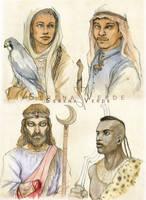 Watercolour bust commission: 1-4 by SerenaVerdeArt