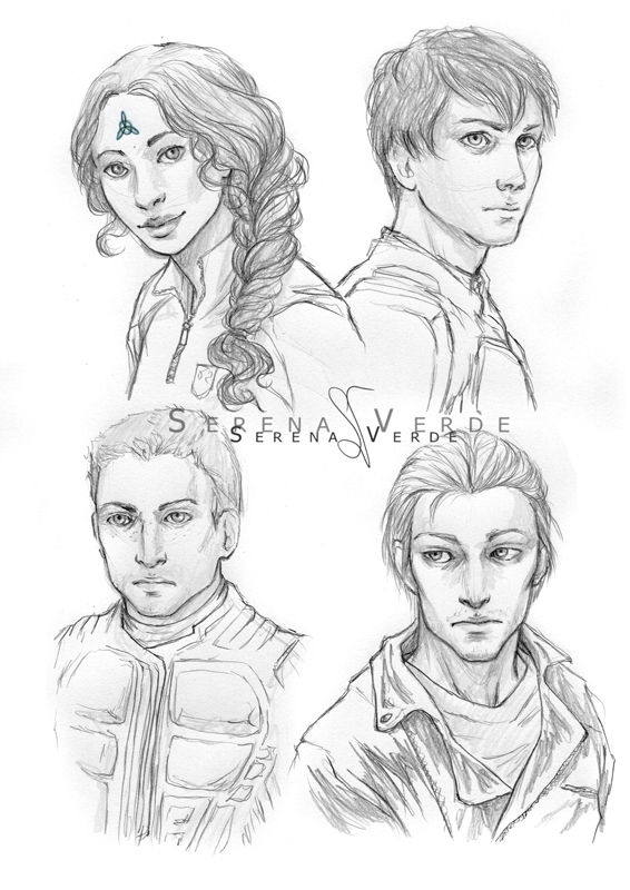 Sketch Commission -  Harper, Zack, Kallen, Xavier by SerenaVerdeArt