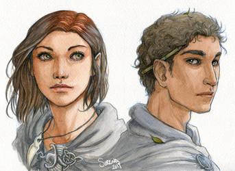 Watercolour Portrait Comm. - Piper and Kylas by SerenaVerdeArt