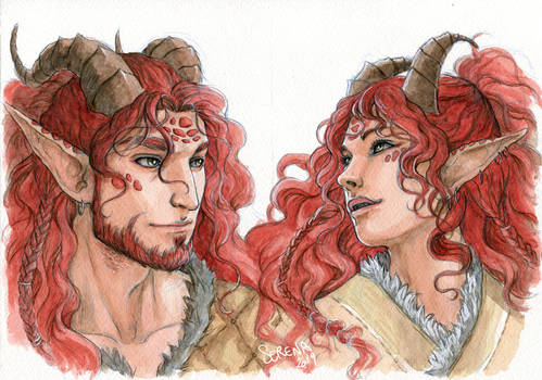 Watercolour Portrait Comm: Vygo and Indrys