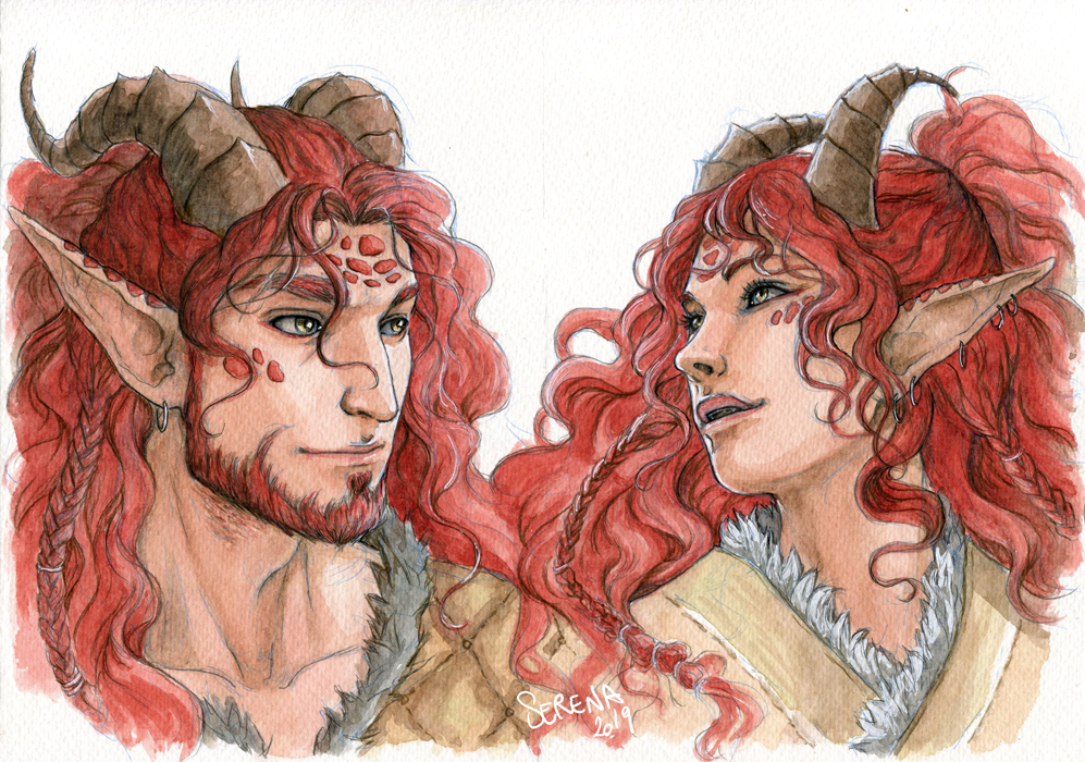 Watercolour Portrait Comm: Vygo and Indrys by SerenaVerdeArt