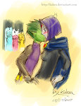 Raven and Beast boy by Kaben