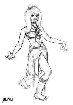 Cosplay girl drawing