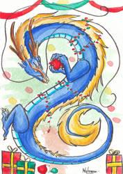 Watercolor post card 5 - Christmas dragon by Pokenoll