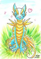 Watercolor post card 6 - Cute dragon by Pokenoll