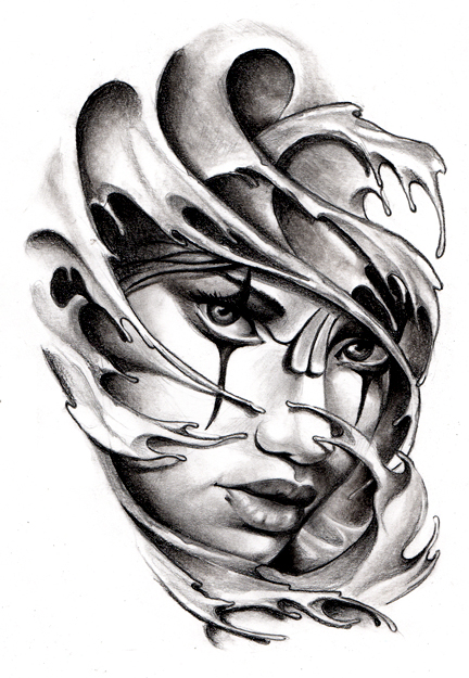 Commissioned tattoo sketch chicano style by for Chicano tattoo art