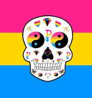 Pansexual Pride sugar skull by Little-Horrorz