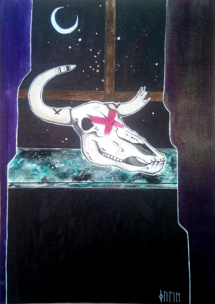 Skull under a moon by oceandusk