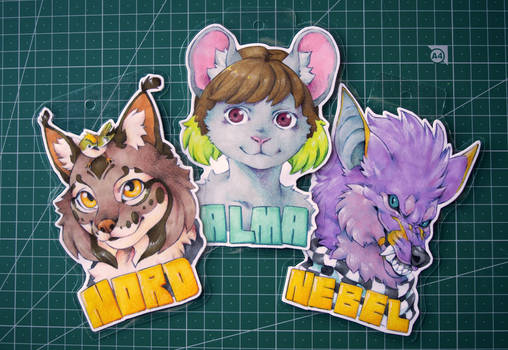 Badges for Nordeva, Alma and Stray_Wurr