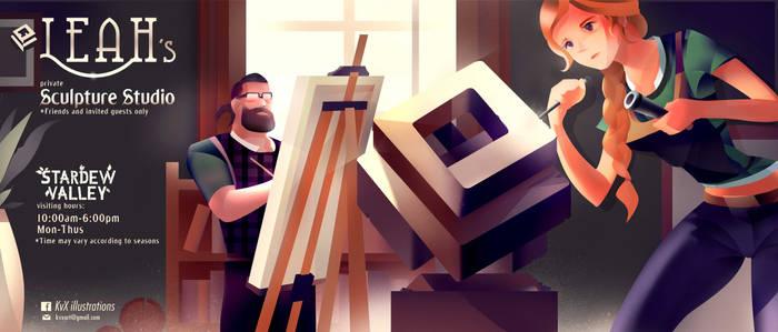 Stardew fan art, Leah's Private Sculpture Studio by KvX