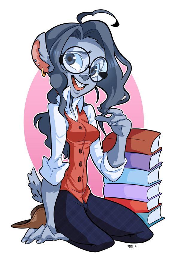 Bookworm chinchilla- Colored by geekysideburns