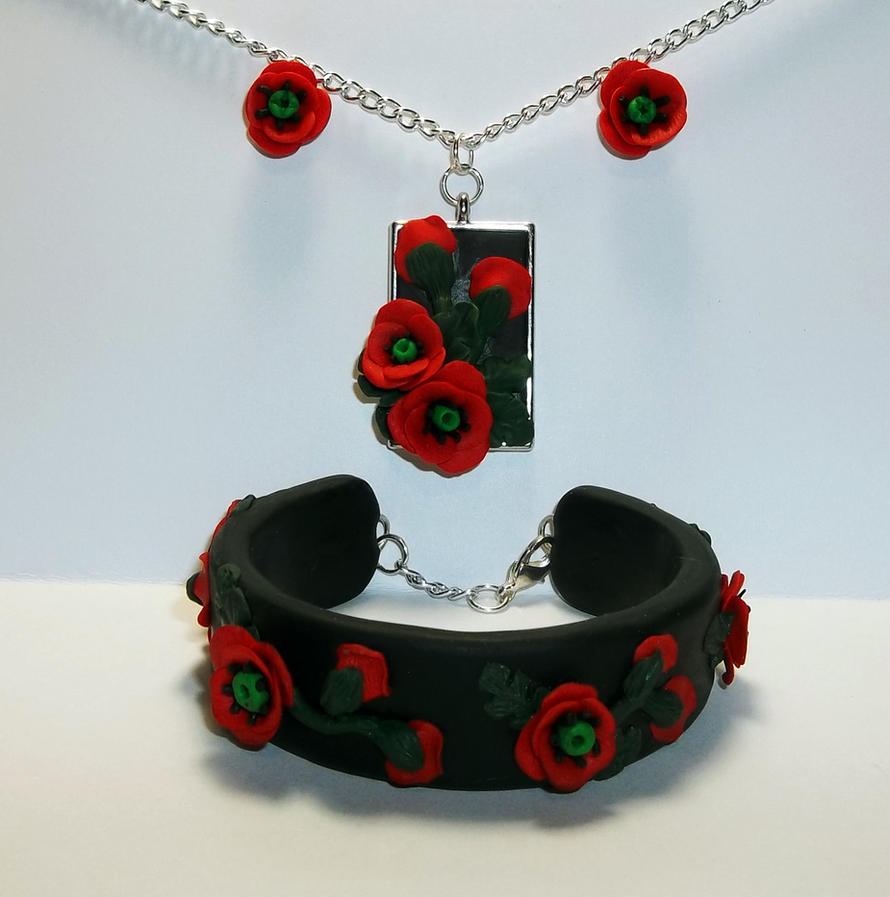 Polymer Clay Poppy Flower Jewelry Set by CraftMuse