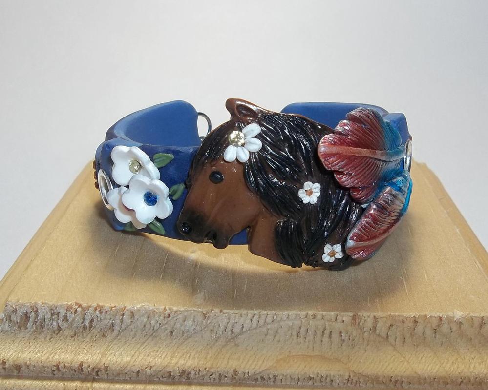Wild Horse Cuff Bracelet- Polymer Clay by CraftMuse