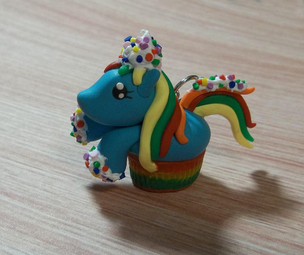 my little pony cupcake charm-rainbow sprinkles by CraftMuse