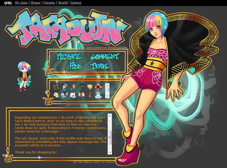 Kawaii Graffiti GaiaOnline Profile Screenshot by Tataouin