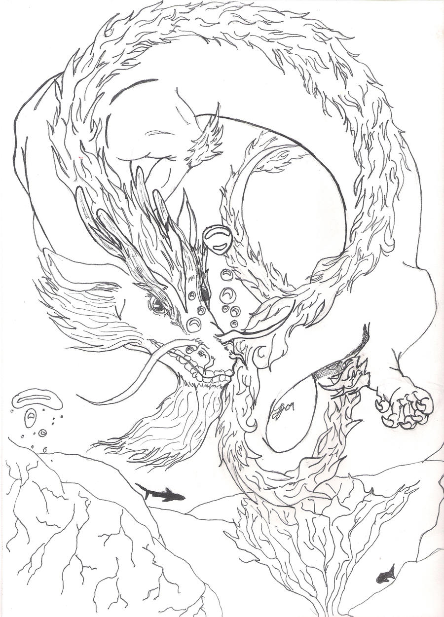 Water Dragon Sketch By Coloring Pages