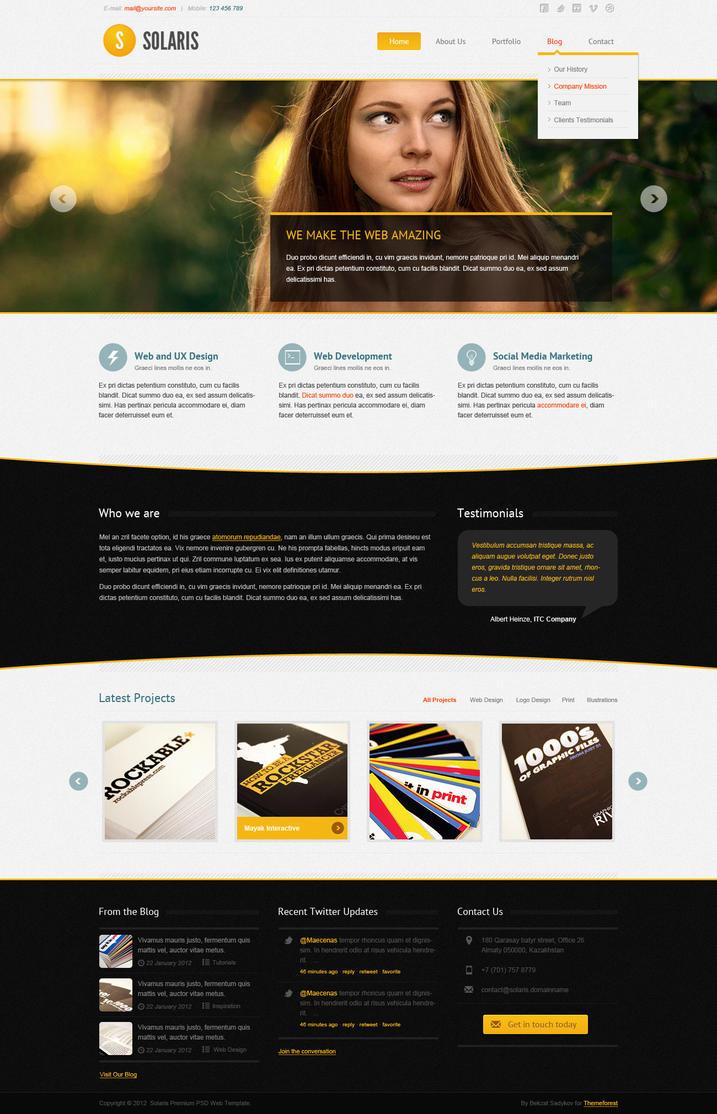 Solaris Premium PSD Web Theme by sadykov