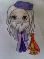Dumbledore Chibi and Fawkes by cacoxima