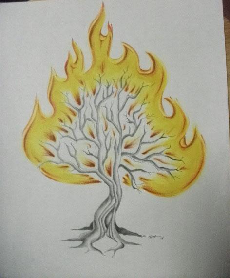 chucky 39 s tattoo design burning bush by themightykikione on deviantart. Black Bedroom Furniture Sets. Home Design Ideas