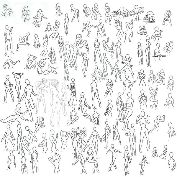 100+ female poses by punkyphase3118