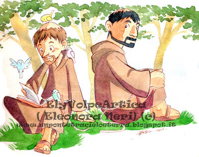 Saint Francis and Friar Lion by ElyVolpeArtica