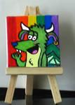 Bernie on a mini canvas