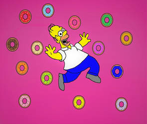 Homer Simpson and donuts by Barricade9-1-1
