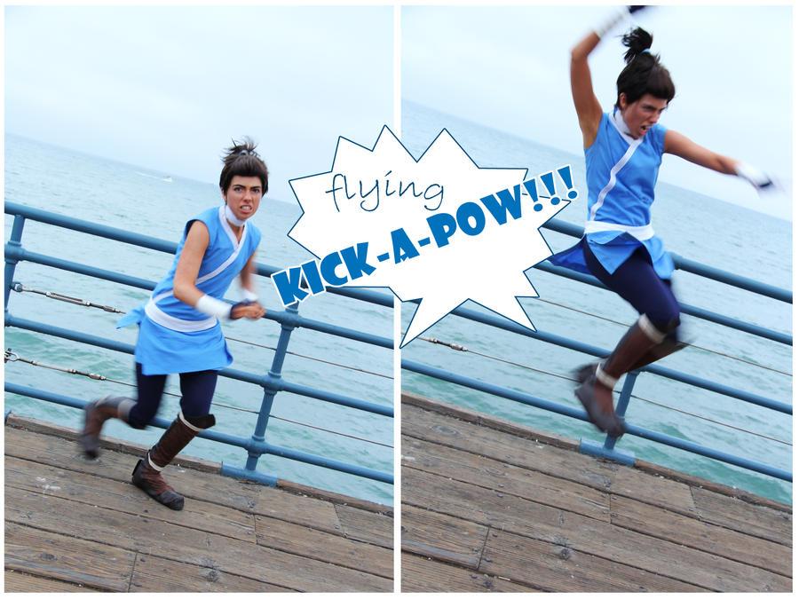FLYING KICK-A-POW! by Theelfinartist
