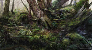 Overgrown forest environment