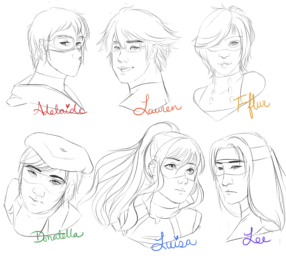 Sketch HeadShots 1 by Kaetriona