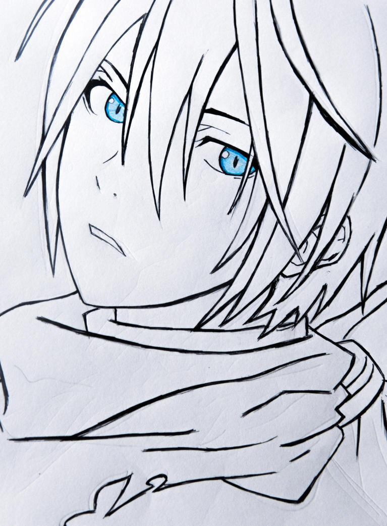 Что из аниме бездомный бог карандашом поэтапно