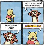 Pooh Eats Sonic And Knuckles? by dAgreatMeowflash