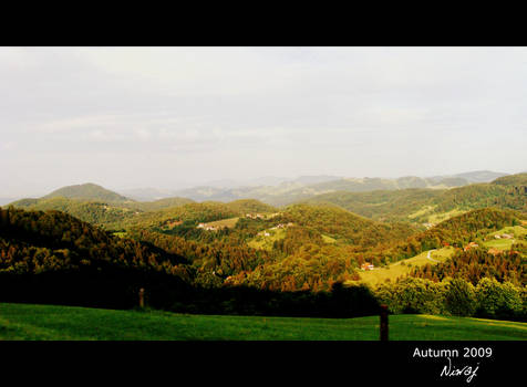Hills in green