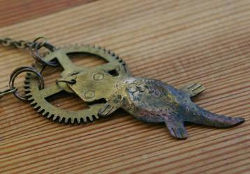 Gearhead Gecko Brass Necklace by SleeplessStoryteller
