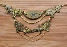 Golden Brass Butterfly Statment Bib