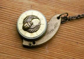 Scarab Dial Asymmetrical Pendant