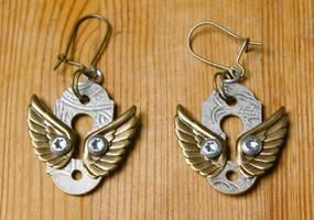 Lock Sprite Recycled Metal Keyhole Earrings