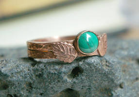 Malachite + Leaves Hammered Copper Stacking Rings