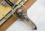 Detailed Copper Skull and Smoky Quartz Pendant