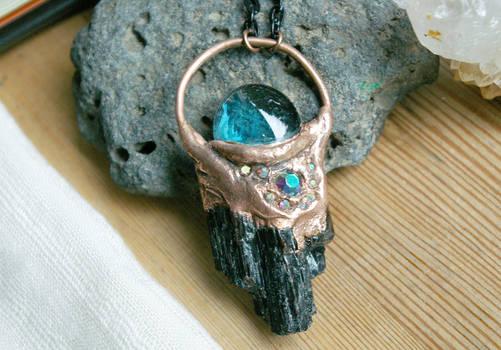 Black Tourmaline + Blue Glass Mystic Orb Pendant