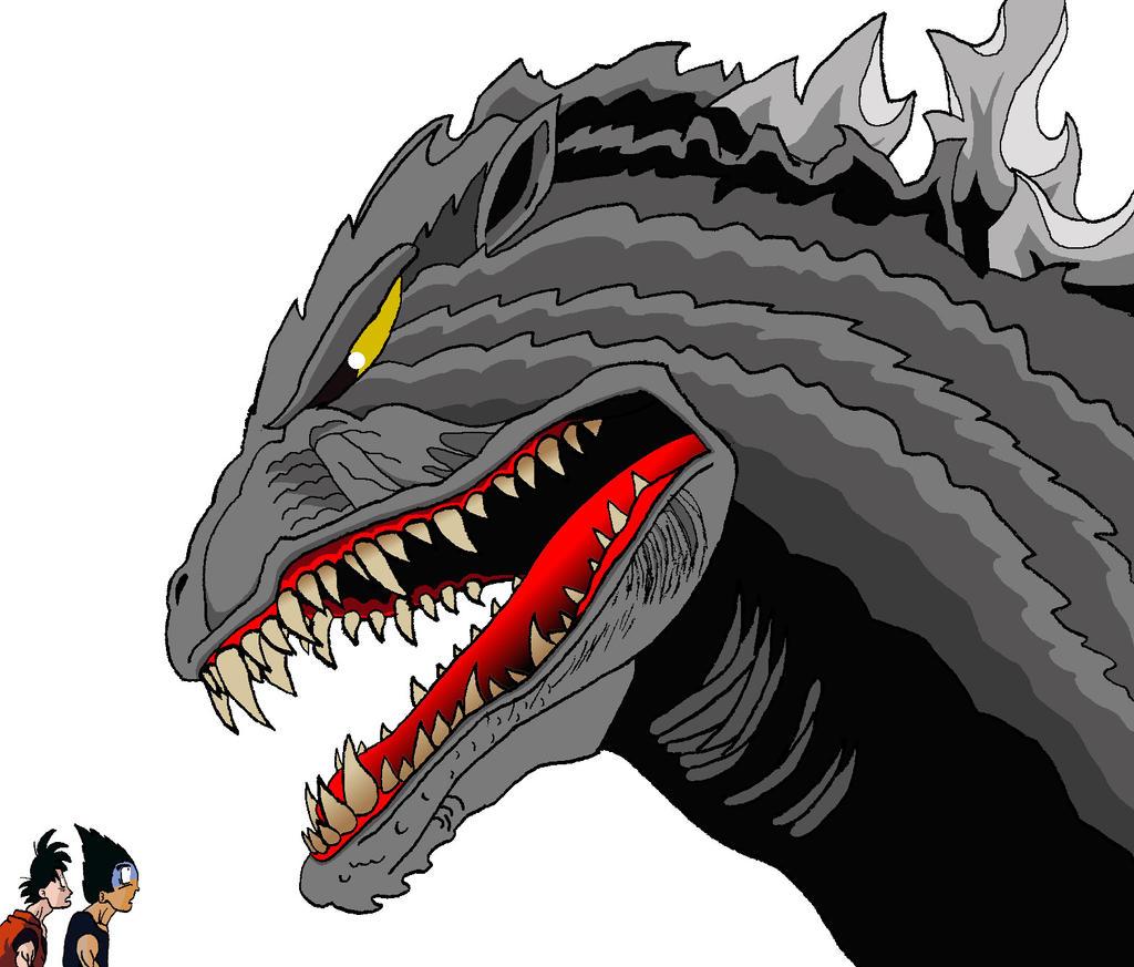 2 bandos - Página 2 Goku_and_Vegeta_meet_Godzilla_by_BigJohnnyCool
