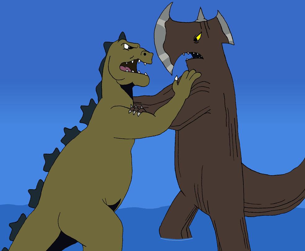 Two Hanna-Barbera Kaiju clash by BigJohnnyCool