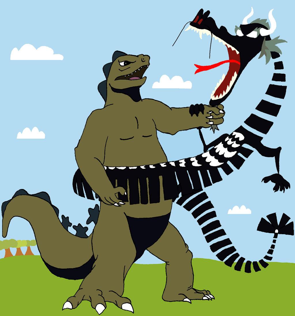 Kaiju vs. Dragon by BigJohnnyCool