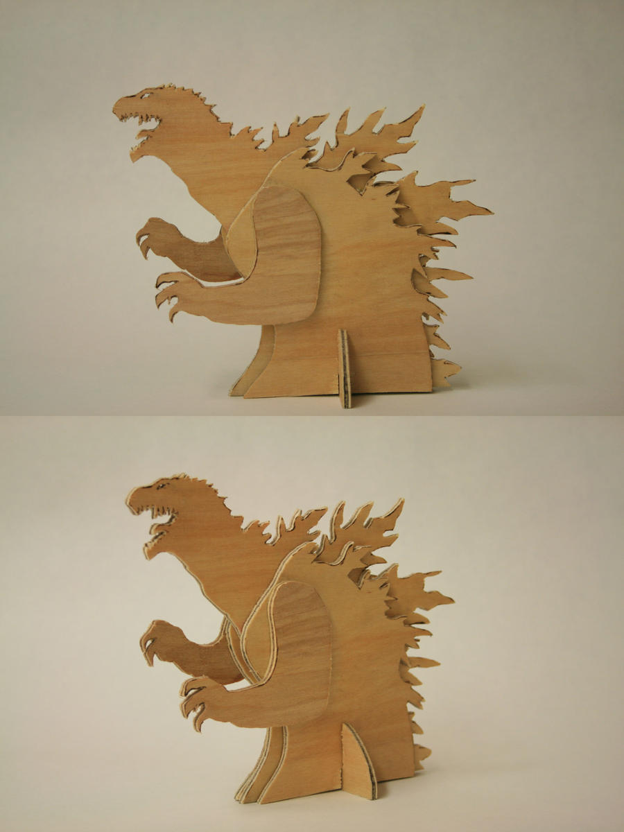 Godzilla Wood Sculpture by BigJohnnyCool