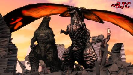 [MMD] Godzilla and Mothra with ShinGoji's statue